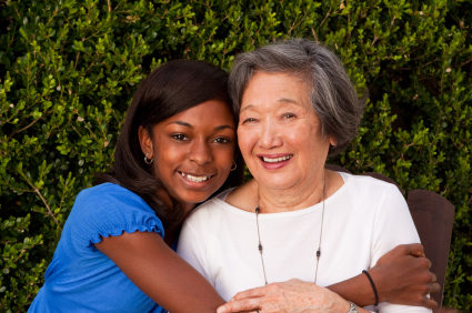 Asian Grandmom and African Asian Grandchild